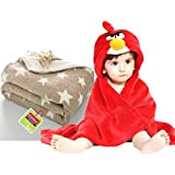 Brandonn Newborn Combo Of Two Hooded And Spread Sheet Blanket- Red /Beige