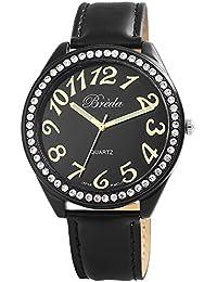 Reloj de pulsera reloj Breda piel imitación reloj negro 100371100020