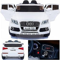 SIMRON kompatibel mit Audi Q5 Quattro SUV Elektro Kinderauto Kinderfahrzeug Ride-On 12V Kinder Elektroauto (Weiss)