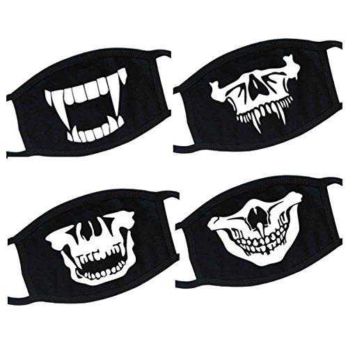 Unisex Cosplay Outdoor Cool Luminous Anti Staub Baumwolle Mund Maske Halloween Party Face Scary Horror Maske ()