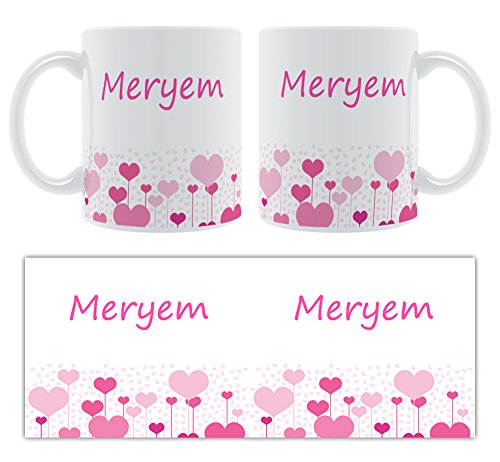 Meryem – Motif cœurs – Femelle Nom personnalisable Mug en céramique