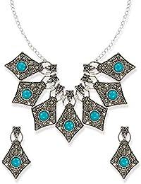 Zaveri Pearl Dark Antique Finely Detailed Junk Necklace Set For Women-ZPFK6456