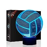 Volleyball Geschenk Nachtlicht 3D neben Tischlampe Illusion, Jawell 7 Farben ändern Touch Switch Schreibtisch Dekoration Lampen Geburtstag Weihnachtsgeschenk mit Acryl Flat & ABS Base & USB Kabel
