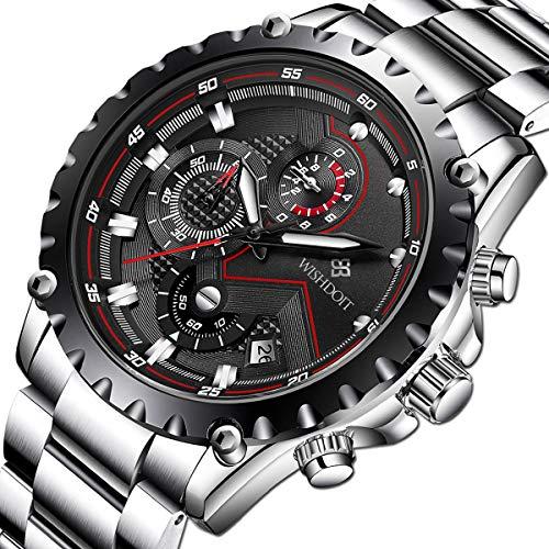 WISHDOIT Herren Freizeit Wasserdicht Sport Chronograph Analog Quarz Uhr mit Mode Silber Edelstahl Armband 9821A (Luxus-uhren-box)