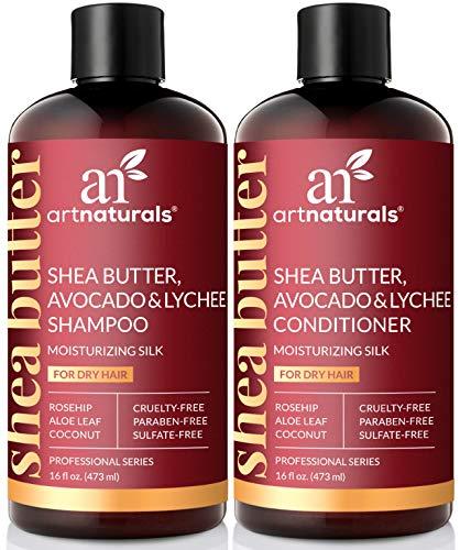 ArtNaturals Sheabutter Shampoo und Conditioner Set - (2 x 16 Fl Oz / 473ml) - Für Trockenes und Strapaziertes Haar - mit Avocado, Litschi, Hagebuttenextrakt, Aloe Vera und Kokosnuss - Moisturizing -
