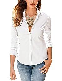 13e700502e6 Tidecc Women Office Shirt Long Sleeve Button Down Lapel Shirt Business Work  Shirt Blouse 8 Colors