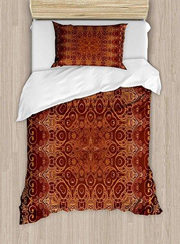 YANAN Antike Bettwäsche-Set, Doppelgröße, Vintage-Spitze, Persisches arabisches Muster aus dem Osmanischen Palace-Teppich-Stil, dekoratives 2-teiliges Bettwäsche-Set mit 1 Kissenbezug, Orange Braun - Antik-stil Teppich