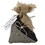 '20piccoli sacchetti favore dei sacchetti di juta matrimonio rustico con etichette personalizzate favore del partito cavo di tasca 4'X 6.5pollici, brun ad noir, 30 sacs