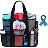 Large Mesh Beach Tote Bag with ice towel,Multi-Functional Sand Toys Storage Bag, Folding Shoulder Bag, Grocery Storage Bag,Good Family Beach Holiday Organizer Net Bag, Black