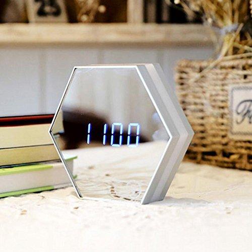 DSstyles LED-Nachtlicht, Lampe, Wanduhr, Thermometer und digitaler Wecker mit Glasfront weiß