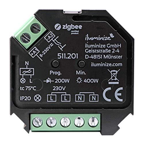 Osram Dimmer (iluminize Zigbee 3.0 Dimm-Aktor Mini, 1 Kanal 230V, max. 200W/400W, Lightlink & Touchlink, per Phasen-AB-schnitt dimmbare 230V Lampen & Leuchten)