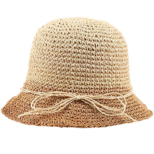 TJJQT Quaste Ohrringe Women Wide Brim Straw Foldable Uv Protection Sun Hat Summer Men Women Sun Visor Cap Beach Sun Hat
