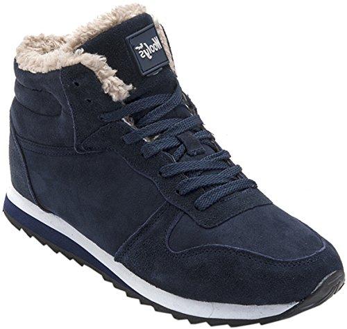 Gaatpot Herren Damen Stiefel Schneestiefel Hohe Sneaker Warm gefütterte Schnürstiefel Schuhe Blau EU 41.5 = CN 43