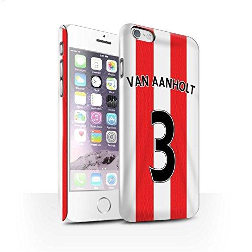 Offiziell Sunderland AFC Hülle / Glanz Snap-On Case für Apple iPhone 6S / Kirchhoff Muster / SAFC Trikot Home 15/16 Kollektion Van Aanholt