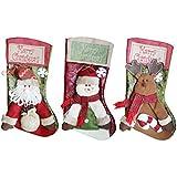 3PCS Calcetines de Navidad, Moon mood® No Tejida Papá Noel Medias de Navidad Santa Claus/Muñeco de Nieve/Elk Navidad Calcetín Hogar Fiesta de Navidad Decoración Christmas Socks 23*46*27cm