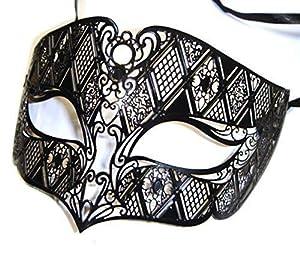 The Rubber Plantation TM 619219289498 - Máscara veneciana de metal para hombre (talla única), color negro