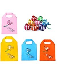 PACKNBUY Set Of 15 Fish Folding Bags (Multi Color) For Travel Shopping Picnics Beach Hiking Trips Portable Easy...