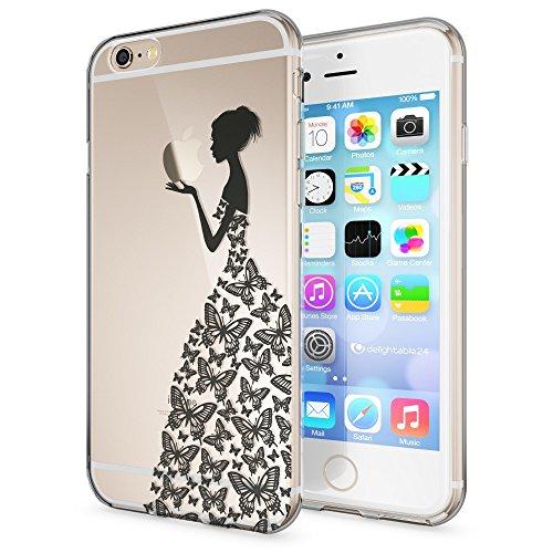 iPhone 6 6S Hülle Handyhülle von NICA, Slim Silikon Motiv Case Crystal Schutzhülle Dünn Durchsichtig, Etui Handy-Tasche Back-Cover Transparent Bumper für Apple iPhone 6S 6 - Transparent Princess Schwarz