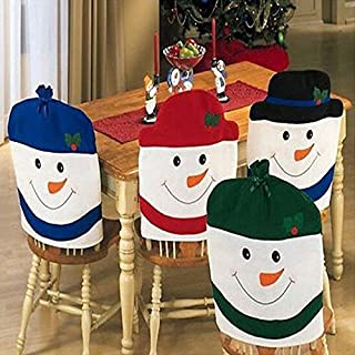 ADAALEN Christmas Snowman Chair Cover Kitchen Dinner Seat Back Home Party Decoration