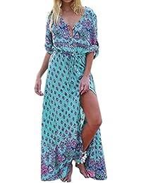 1a383ceb01d20d Ansenesna Kleid Damen Sommer Lang Blumen Vintage Elegant Strandkleid Mit  Ärmeln V Ausschnitt Für Party Strand