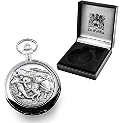 60th Birthday Gift, Engraved Pocket Watch with Pewter Horse Racing Case in a Presentation Box