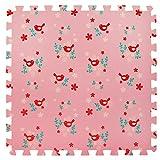 6 Grande Tappeti gioco per bambini e neonati in morbida schiuma - 6 tappeti rosa a incastro con gli uccelli