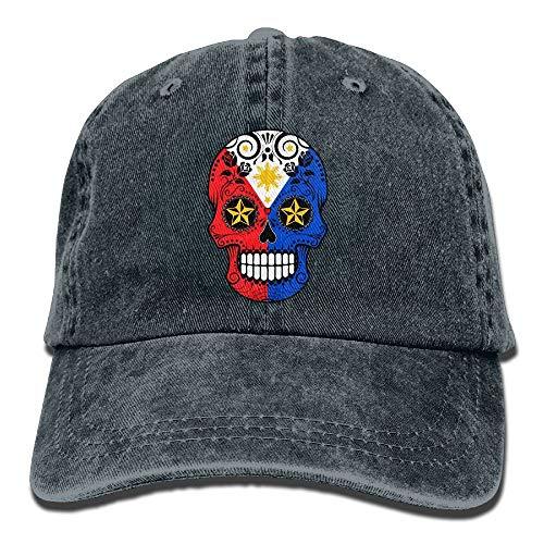 Naiyin Filipino Flag Sugar Skull Vintage Washed Dyed Cotton Twill Low Profile Adjustable Baseball Cap Black