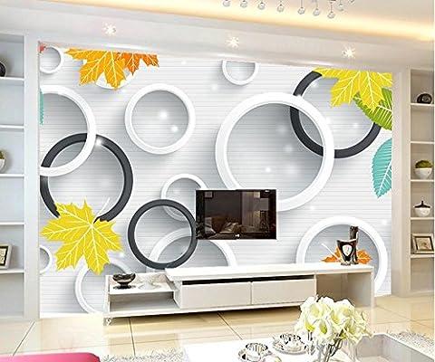 Cunguang Benutzerdefinierte große Wandmalereien, Frische und elegante moderne 3D-Kreis Blätter Tapeten, Wohnzimmer Sofa Tv Wand Schlafzimmer Tapeten Home Decor 2 M X 1 M, Baumwolle Canvas