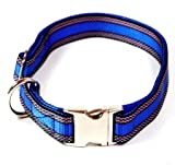 Hundehalsband, Alu-Max®, Soft Nylon, Blau mit Muster, 25-35cm, 15mm