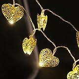 Denknova® 20er LED Gold Herz Lichterkette, batteriebetrieben, Warmweiß, 2 Meter