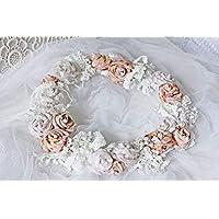 Blütenkranz 'Altrosé und Creme' UNIKAT handmade Blumenkranz Türkranz Tischdeko