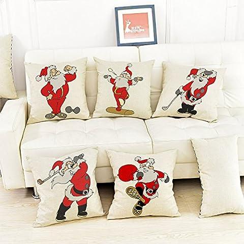 CAROLWU Personalizzabile Copertura Del Cuscino Moderno Minimalista Creativo Cartone Animato Babbo Natale In Cotone Stampato , D , 45*45 Matt Denim