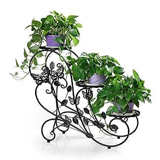 HLC Bastidor para macetas – Soporte metálico para Hierbas y Flores de 73 cm con 3 cestas,Color Negro