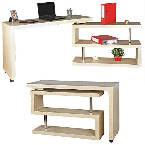 Braun Sekretär Schreibtisch (Melko® Eckschreibtisch Beistelltisch Schreibtisch Sekretär, Hell-Braun, Drehbar, 120-202x50x70 cm)