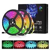 Tira LED 10M(5Mx2) RGB 5050, Bellababy Tira LED Vistoso con Control Remoto de 44 Teclas y Fuente de Alimentación, 12V 5A, 300 LED, Luces LED Decorativas para Navidad, Halloween, fiestas y Bodas