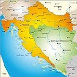 Posterlounge Stampa su PVC 60 x 60 cm: Croatia - Map di Editors Choice