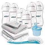 Philips Avent Premium PP-Flaschen-Set 12-tlg. - 6x Babyflaschen + Flaschenbürste + Milchpulverportionierer + 4x Spucktücher