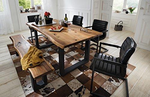 SAM® 6 TLG. Essgruppe Quentin, je 1x Baumkantentisch 180x90cm & -Bank 180x40 cm, Akazie-Holz, 4X Schwingstuhl Parzivo in schwarz