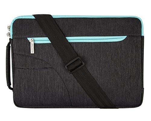 MOSISO Laptoptasche für 15 Zoll MacBook Pro with Touch Bar A1990&A1707 2018 2017 2016, Auch für 14 Zoll Notebook, Computer Laptop Sleeve Hülle Polyester Tasche mit Handgriff, Schwarz & Heißes Blau