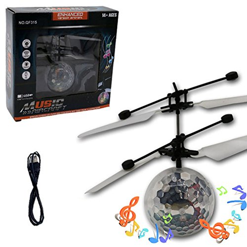 Myfei Mini Induction Suspension Flying RC Ball, Colourful Crystal Flashing LED Mild Magic Music Glittering Distant Management Plane for Youngsters Novetly Toys