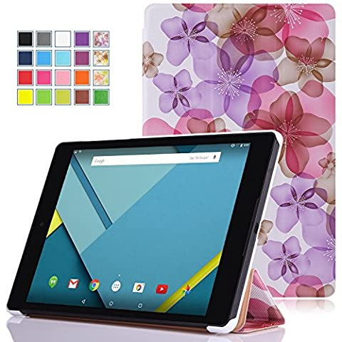 MoKo Etui Google Nexus 9 - Etui à rabat avec support ultra-mince et léger pour Tablette Google Nexus 9 8.9 Pouces Volantis Flounder Android 5.0 Lollipop par HTC, Floral