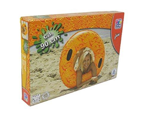 Schwimmring ca. 90 cm mit Griffen maritim Badering Schwimmring Schwimm Ring Schwimmreifen Reifen Swim Ring Schwimmreifen PVC Folie super Schwimmspass für Kinder oder Erwachsene Spass orange
