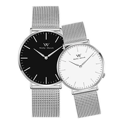 Welly merck coppia orologi regalo di san valentino per lei o lui movimento svizzero 36 e 42 mm quadrante nero e bianco la fascia intercambiabile con argento mesh 50m resistente all'acqua