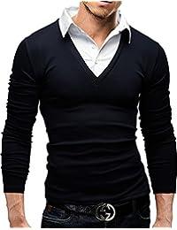 MERISH Polo Coton pour Homme 2 en 1 avec col Chemise Casual Business Haut Top Qualite Manches longue Slim Fit Modell 26