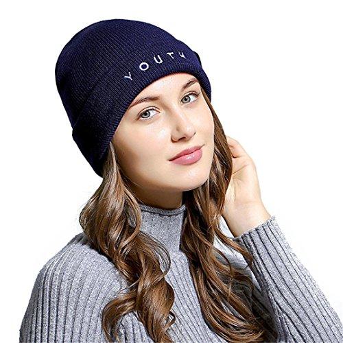 LCLrute Mode Frauen Buchstaben gestickte Männer Frauen Baggy Wolle stricken Ski Beanie Hut (Navy) (Winter Hut Gestickte Stricken)