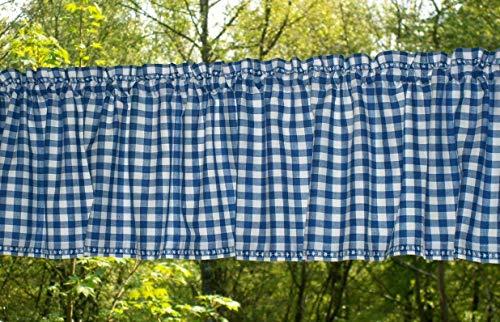 Kurzgardine blau-weiß kariert Bauernkaro mit ***Stickerei (Material Rollos)