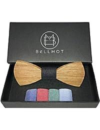 Bellmot 5in1 Holzfliege. Die Holz Fliege für Männer und Herren in rot, blau, grün, hellblau und schwarz