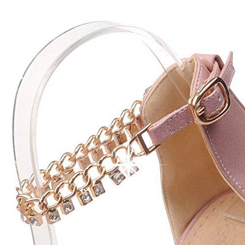 AllhqFashion Femme Matière Souple Boucle Pointu à Talon Haut Couleur Unie Chaussures Légeres Rose