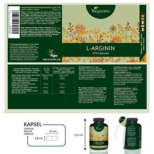 L-ARGININ Hochdosiert Vegavero | 99,7% REIN (kein HCL) | Von Sportlern für MUSKELAUFBAU genutzt | 700mg Kapsel| VEGAN und OHNE Zusatzstoffe – Laborgeprüft | Vegan | 270 Kapseln