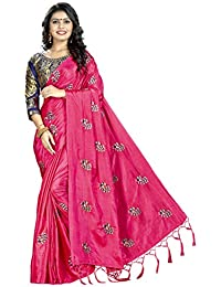 Blissta Pink Silk Saree Embroidered Saree With Contrast Banarasi Jacquard Blouse